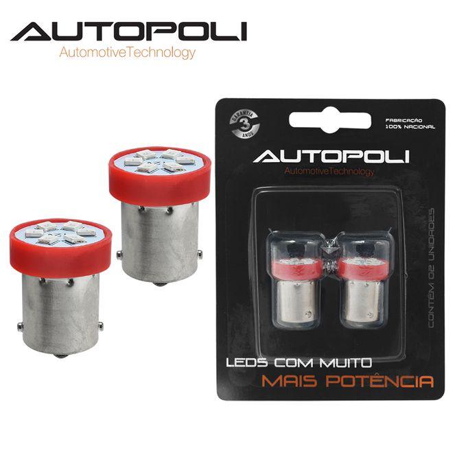 Lâmpada LED Lamp 1 Polo 12V 1,8W Com Base BA155 - Vermelha Autopoli