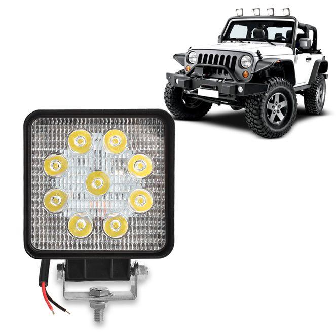 Farol Auxiliar Universal Quadrado Com 9 LEDs Branco Universal Anxt
