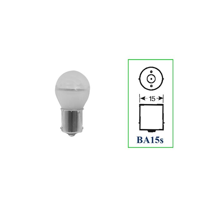 Lâmpada LED Bulb 1 Polo 12V 3W Com Base BA15S - Branca - 10 Lâmpadas Autopoli