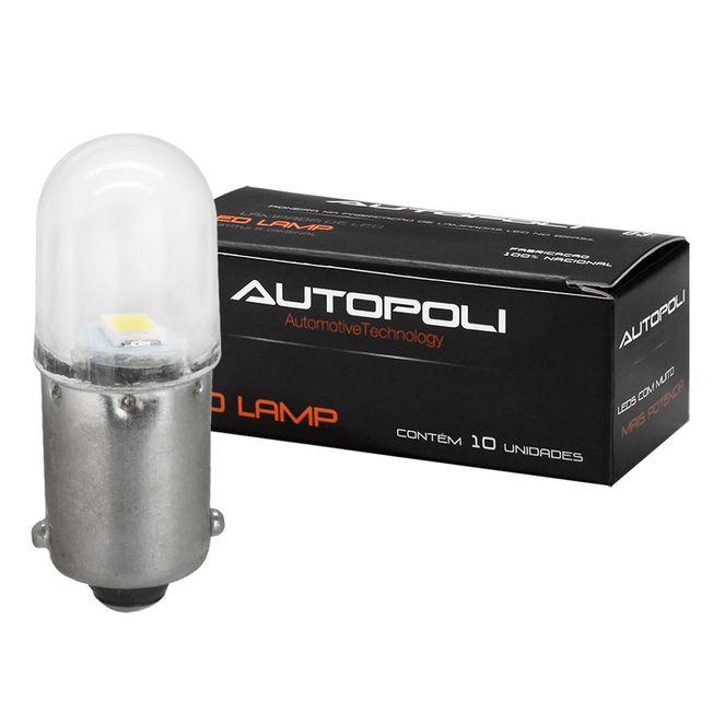 Kit Lâmpada LED 1 Polo Branca 12V 0,9W Base BA9s Autopoli
